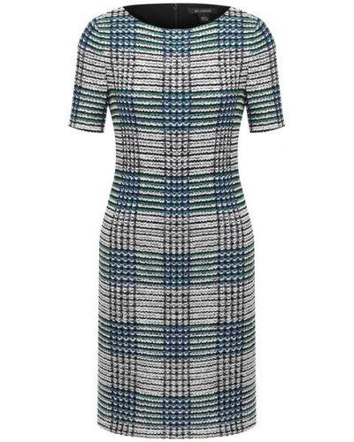 Шерстяное синее платье St. John