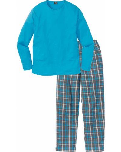 Бирюзовая пижама в клетку Bonprix