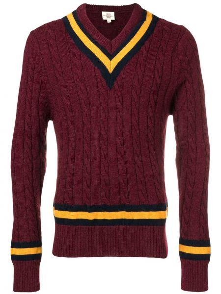 Czerwony sweter wełniany w paski Kent & Curwen