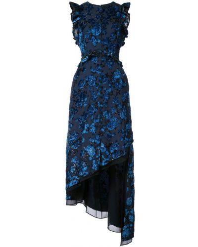 Вечернее платье с цветочным принтом асимметричное Self-portrait