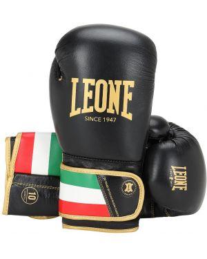 Czarne rękawiczki skorzane z haftem Leone 1947