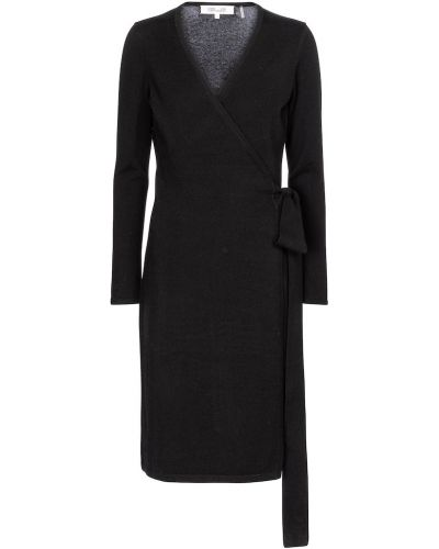Шерстяное черное платье миди Diane Von Furstenberg