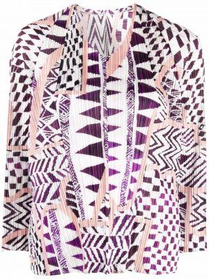 Блузка с принтом - фиолетовая Pleats Please Issey Miyake