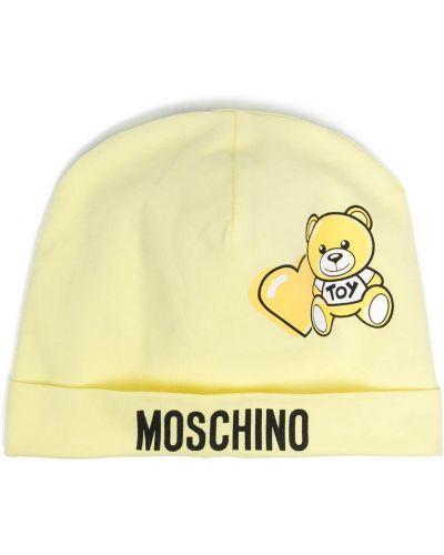 Хлопковая желтая шапка бини с отворотом Moschino Kids