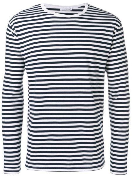 Niebieski sweter w paski bawełniany Nanamica