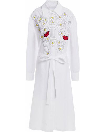 Biała sukienka midi z haftem zapinane na guziki Vivetta