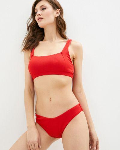 Красный купальник с воротом халтер Delice