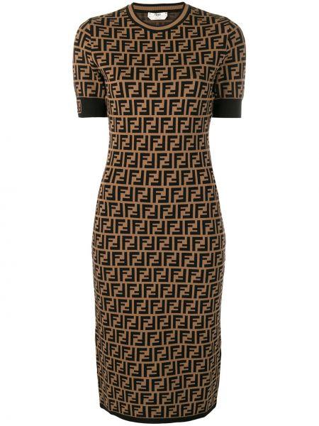 Коричневое прямое платье мини с вырезом Fendi
