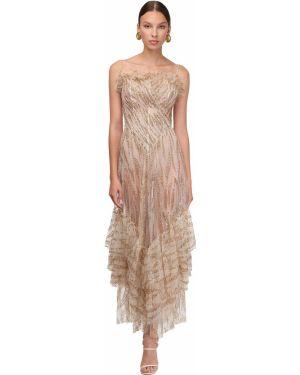 Sukienka tiulowa bez rękawów z haftem Sandra Mansour