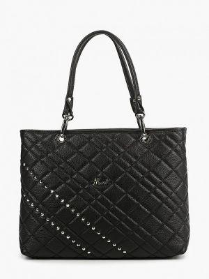 Черная сумка с ручками из натуральной кожи Marina Creazioni