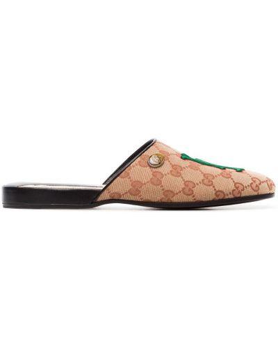 Мюли бежевый с вышивкой Gucci
