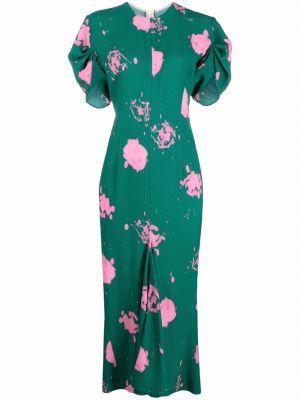 Платье миди с принтом - зеленое Marni
