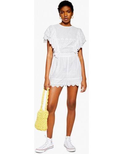 Комбинезон с шортами белый индийский Topshop