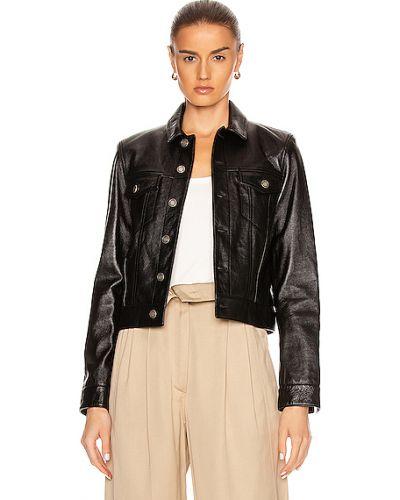Черная кожаная куртка с подкладкой Saint Laurent