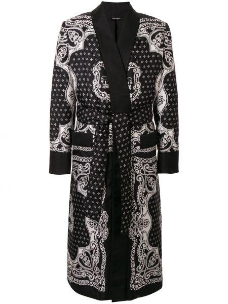 Czarny szlafrok z jedwabiu z długimi rękawami Dolce And Gabbana