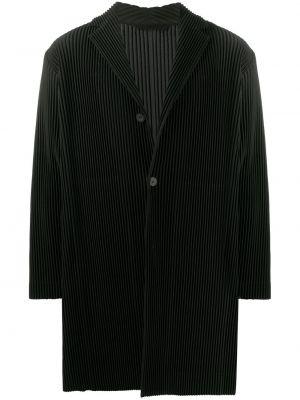 Baza czarny jednorzędowy długi płaszcz z długimi rękawami Homme Plisse Issey Miyake