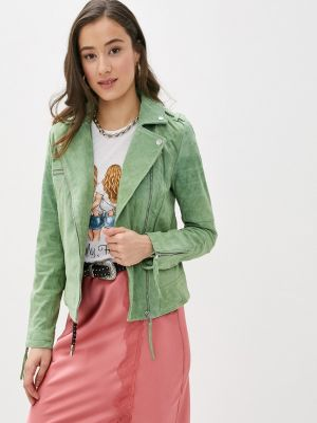 Кожаная куртка весенняя зеленая Vila