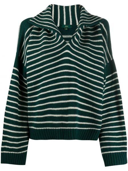 Кашемировый зеленый свитер с воротником в рубчик Jejia