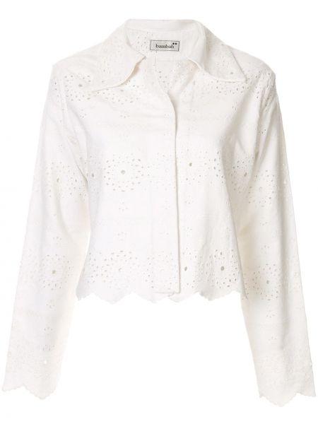 Джинсовая куртка укороченная белая Bambah