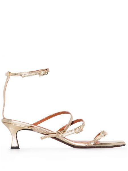 Золотистые кожаные сандалии золотые Manu Atelier