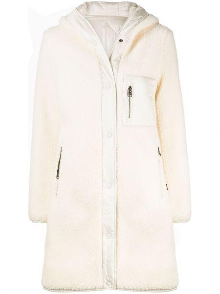С рукавами белое пальто с капюшоном двустороннее на пуговицах Woolrich