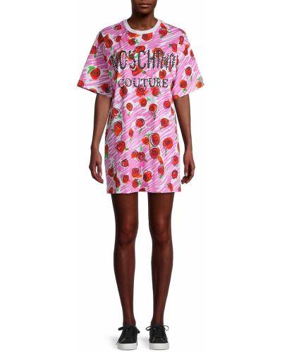Хлопковое розовое купальное платье с короткими рукавами Moschino