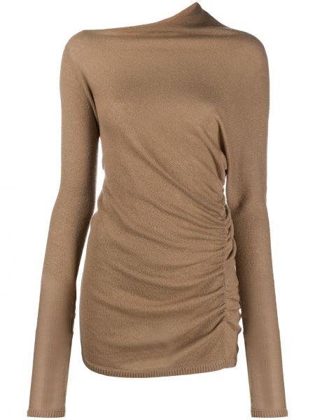 Асимметричный кашемировый коричневый свитер с драпировкой Agnona