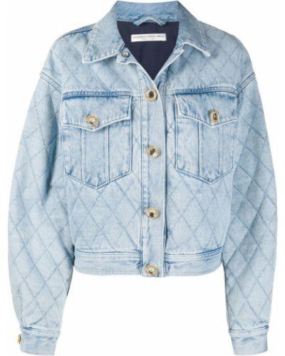 Синяя джинсовая куртка с воротником свободного кроя Alessandra Rich