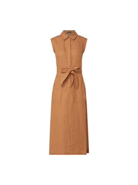 Brązowa sukienka rozkloszowana z paskiem Riani