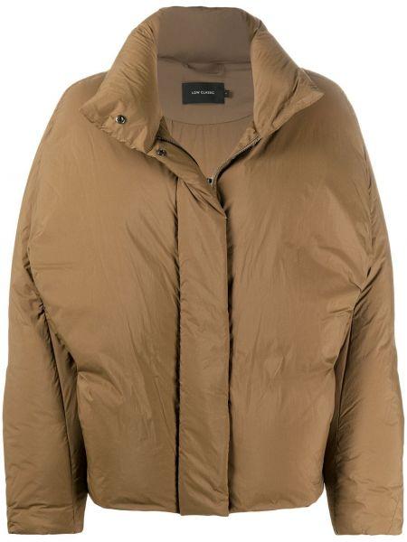 Пуховая коричневая стеганая длинная куртка Low Classic