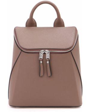 Кожаный рюкзак бежевый на молнии Eleganzza