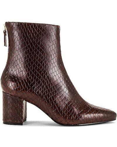 Brązowe ankle boots skorzane Raye