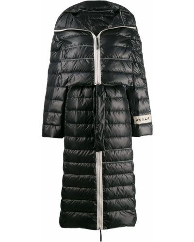 Пуховое коралловое длинное пальто с капюшоном Ruban