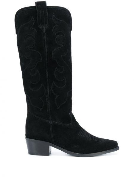 Черные кожаные ковбойские сапоги на каблуке Twin-set