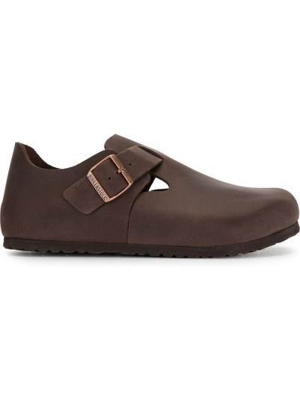 Коричневые кожаные туфли на плоской подошве Birkenstock