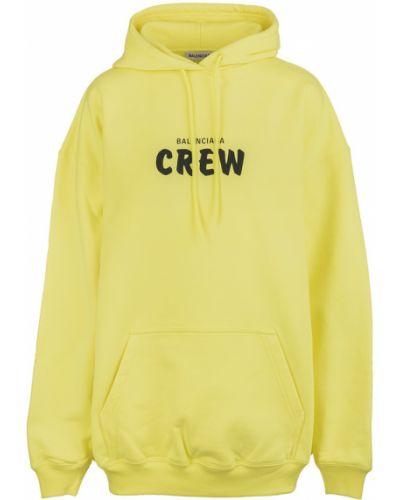 Z rękawami żółty długi sweter z kapturem Balenciaga
