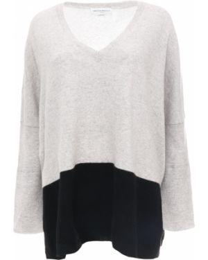 Шелковый серый свитер с V-образным вырезом свободного кроя Amanda Wakeley