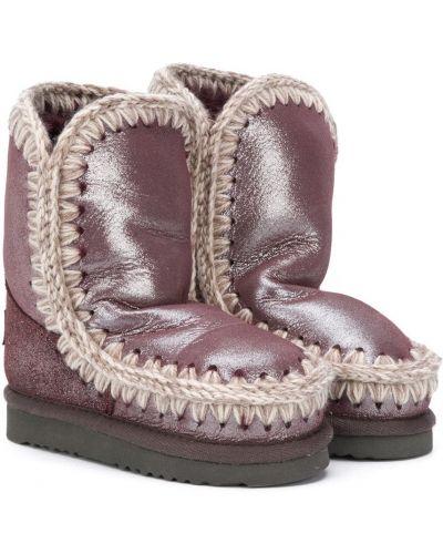 Фиолетовые сапоги из овчины Mou Kids