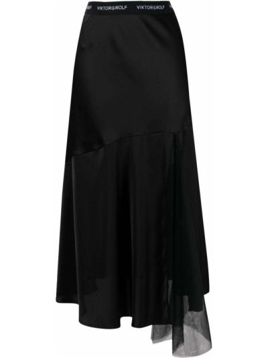 С завышенной талией расклешенная черная юбка миди Viktor & Rolf