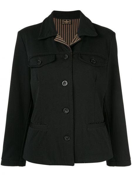 Черная куртка винтажная с воротником Fendi Pre-owned