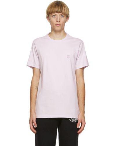 Fioletowy koszula z krótkim rękawem z kołnierzem z haftem rozciągać Burberry