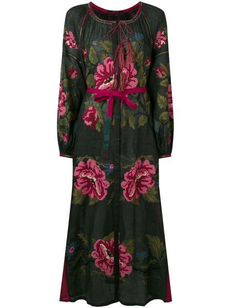 Платье макси с цветочным принтом черное Vita Kin