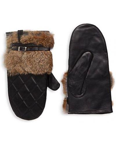 Кожаные черные перчатки с манжетами Furlux
