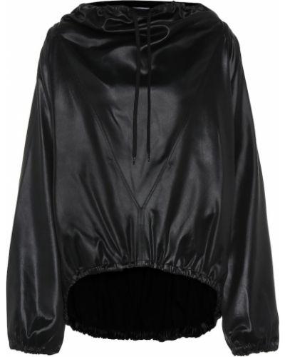 Włókienniczy czarny bluza z kapturem z dekoltem z draperią Givenchy