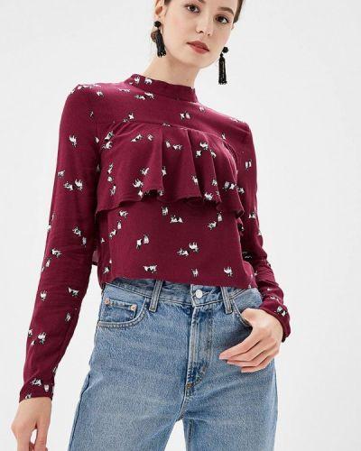 Блузка с длинным рукавом осенняя бордовый Befree