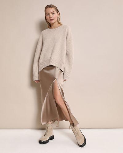 Коричневая шерстяная юбка макси с разрезом 12storeez
