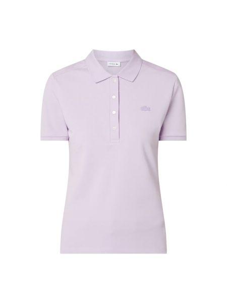 Bawełna fioletowy t-shirt wąskie cięcie z paskami Lacoste
