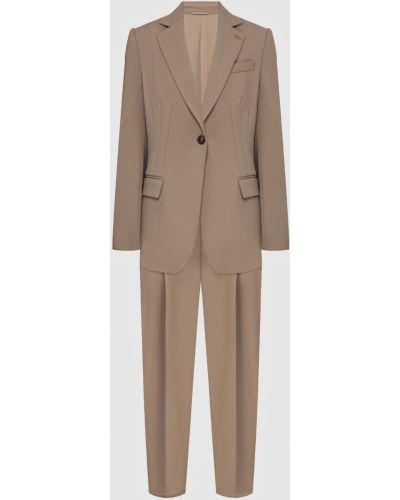 Костюмный шерстяной бежевый костюм Brunello Cucinelli