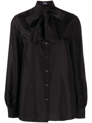 Шелковая с рукавами черная рубашка Karl Lagerfeld