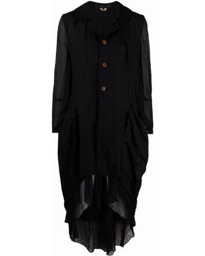 Черное длинное пальто на пуговицах со вставками Comme Des Garçons Comme Des Garçons